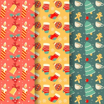 Flat christmas pattern pack