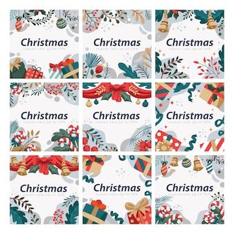花の背景を持つソーシャルメディアテンプレートのフラットクリスマス植物漫画スタイル