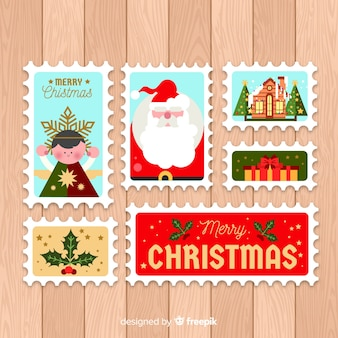 Flat christmas post stamp pack
