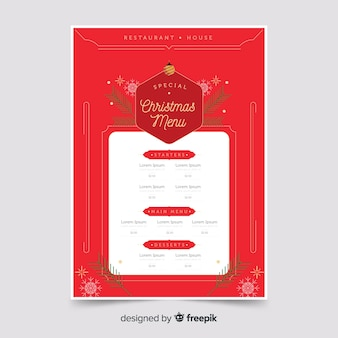 Flat christmas red menu template