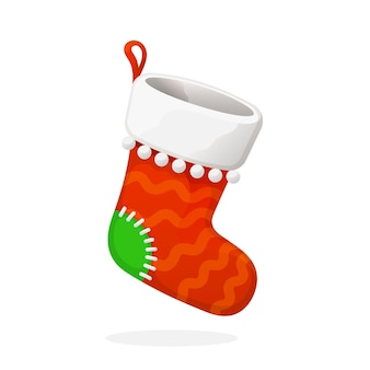 Плоский рождественский красный носок для подарков традиционный новогодний аксессуар для подарков векторная иллюстрация