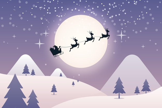 Flat christmas reindeers background