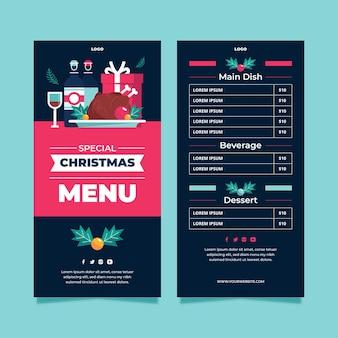 Плоский рождественский шаблон меню ресторана