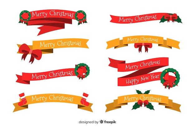 Flat christmas ribbon collection on white background