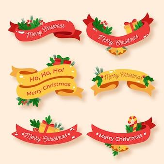 フラットクリスマスリボンコレクション