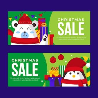 Flat christmas sale banners