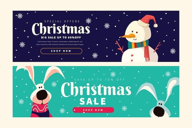 Плоские рождественские продажи баннеров