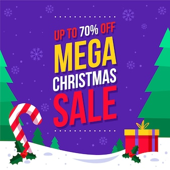 Flat christmas sale illustration