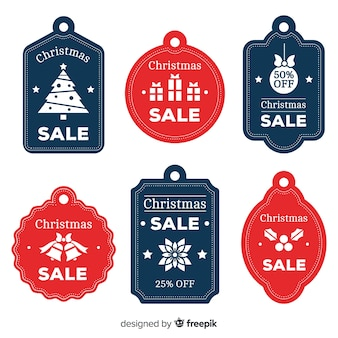 Flat christmas sale label pack
