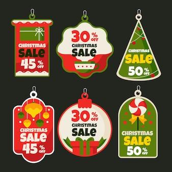 Flat christmas sale tag collection