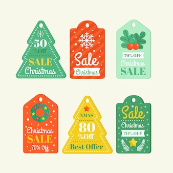 Flat christmas sale tag collection