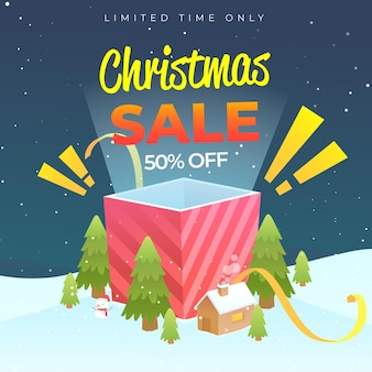 Плоский рождественский шаблон распродажи Бесплатные векторы