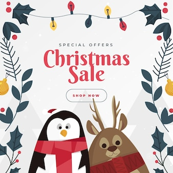Flat christmas sale template