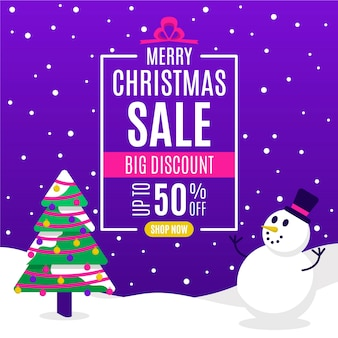 Flat christmas sale and tree with snowman