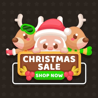 Flat christmas sale with characters