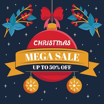 Flat christmas sale with christmas ball and mistletoe