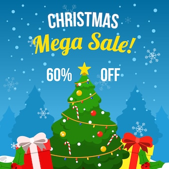Flat christmas sale with christmas tree and gifts