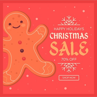 Flat christmas sale with smiley gingerbread