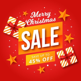 Flat christmas sale with wrapped gift boxes