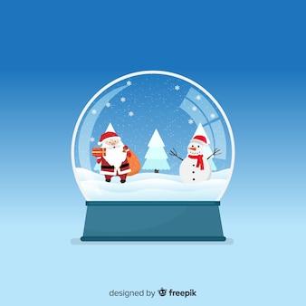 Flat christmas snowball globe design