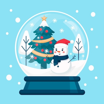 Flat christmas snowball globe with smiley snowman