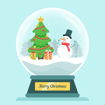 Flat christmas snowball globe with snowman