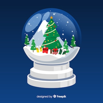 Flat christmas snowball globe with tree