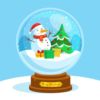 Flat christmas snowball globe