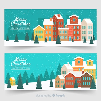 Flat christmas snowy town banners