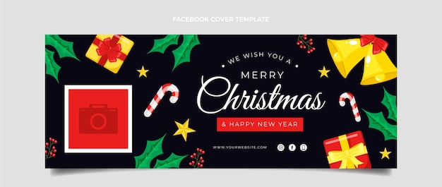 Flat christmas social media cover template