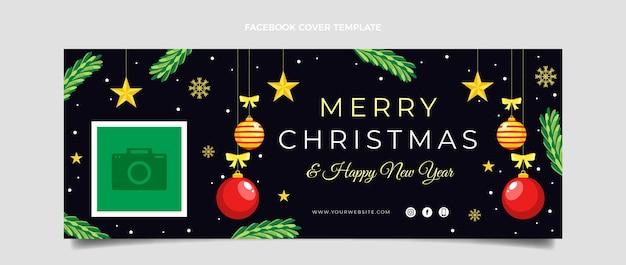 Плоский рождественский шаблон обложки в социальных сетях