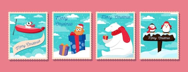 Collezione di francobolli di natale piatto