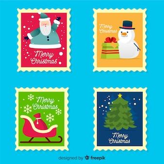 Flat christmas stamp