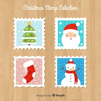 Flat christmas stamps colllection