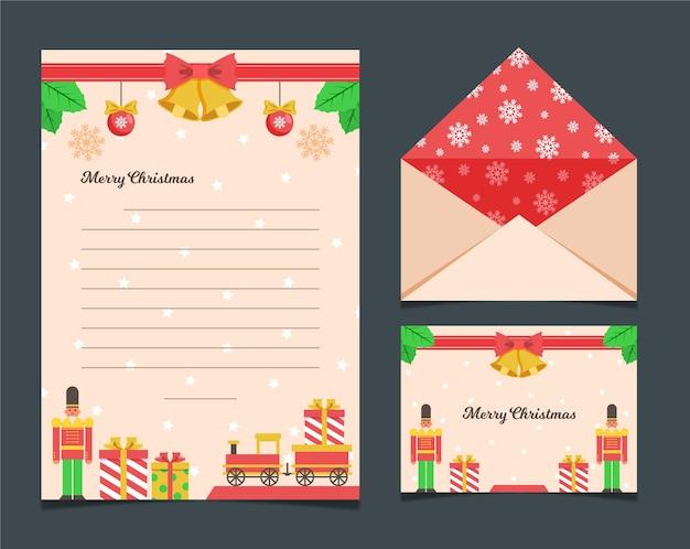 フラットクリスマスステーショナリーテンプレートコレクション