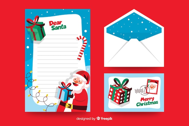 Flat christmas stationery template dear santa