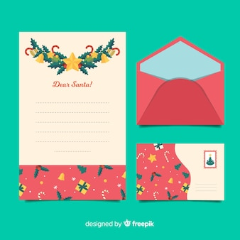 Flat christmas stationery template with copy space