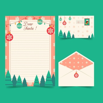 Flat christmas stationery template