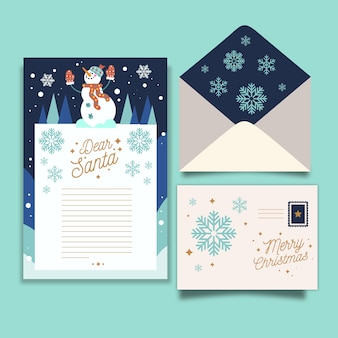 Flat christmas stationery template