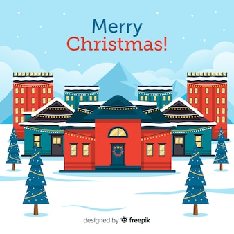 Flat christmas town background