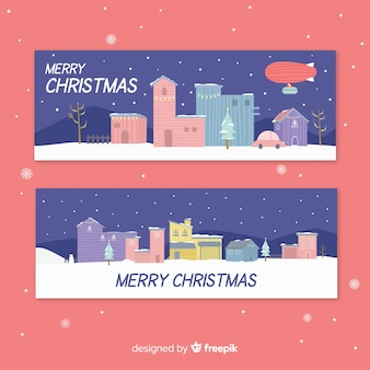 플랫 크리스마스 마을 배너