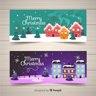 Flat christmas town banners