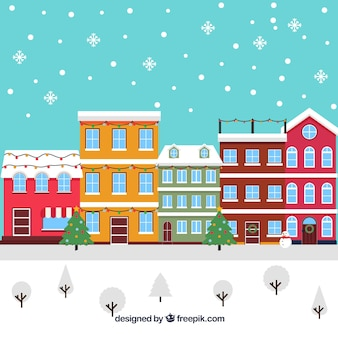 Flat christmas town covered in snow