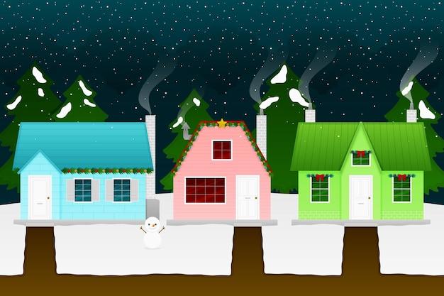 フラットなクリスマスの町のイラスト 無料ベクター