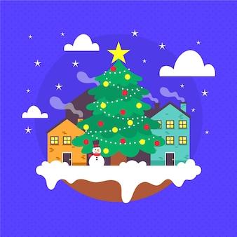 フラットなクリスマスの町のイラスト