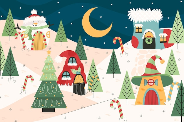 Flat christmas town illustration