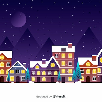 Flat christmas town in the night with moon