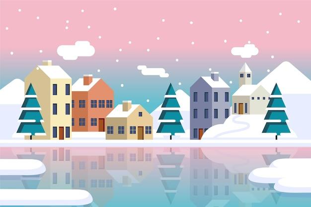 전나무 나무와 평평한 크리스마스 마을
