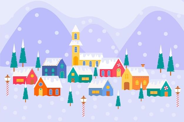 家のあるフラットなクリスマスの町