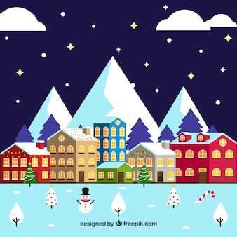 Flat christmas town with mountains